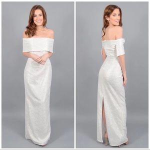 Marina Off Shoulder Ivory Metallic Gown Maxi Dress
